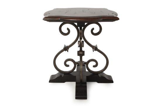 Solid Spruce Scrolled Pedestal Lamp Table in Dark Caramel