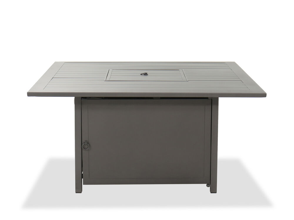 Aluminum Square Gas Fire Pit in Gray