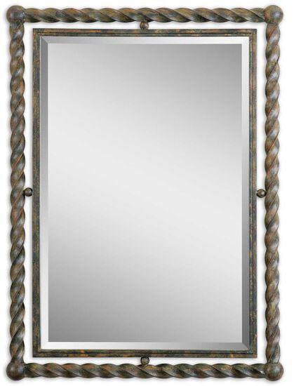 "35"" Twisted Frame Mirrorin Heavy Rust Wash"