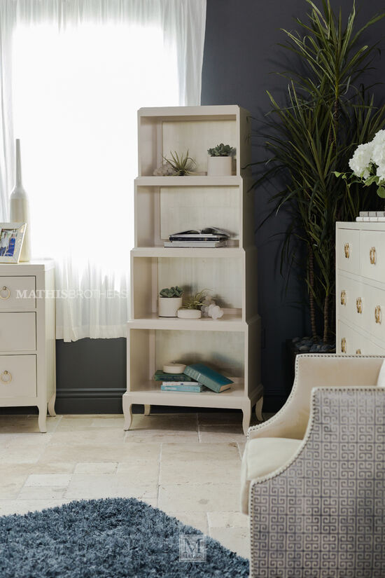 Four-Compartment Glam Salon Etagere in Alabaster
