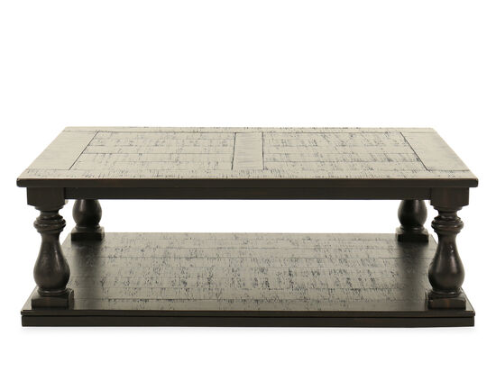 Plank-Top Rectangular Casual Cocktail Table in Black