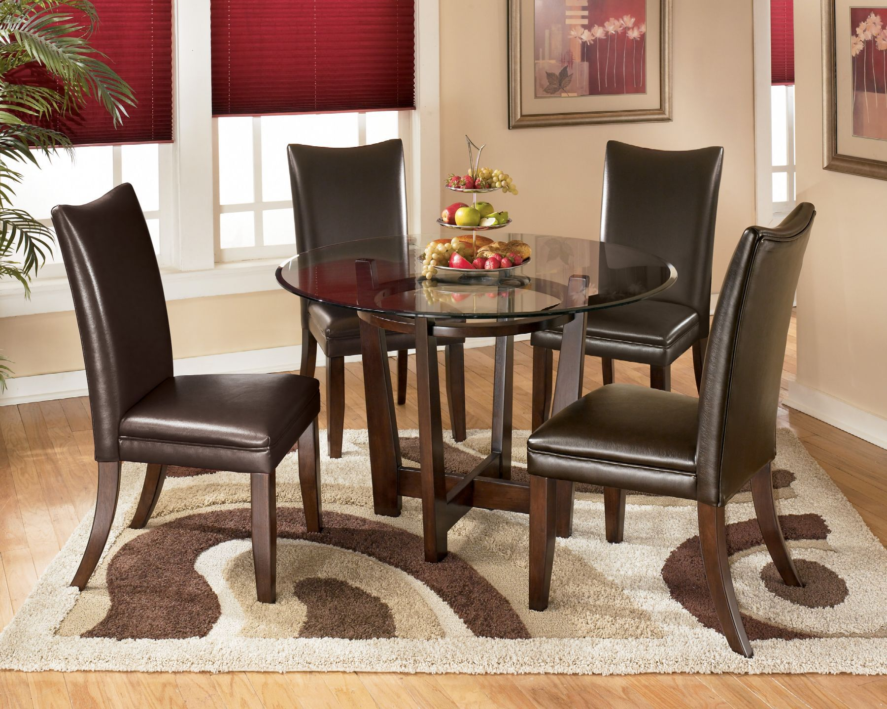Contemporary 45u0026quot; Beveled Glass Dining Table In Medium Brown