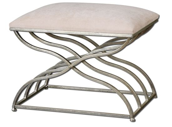 "Curvy Frame 24"" Accent Bench in Satin Nickel"