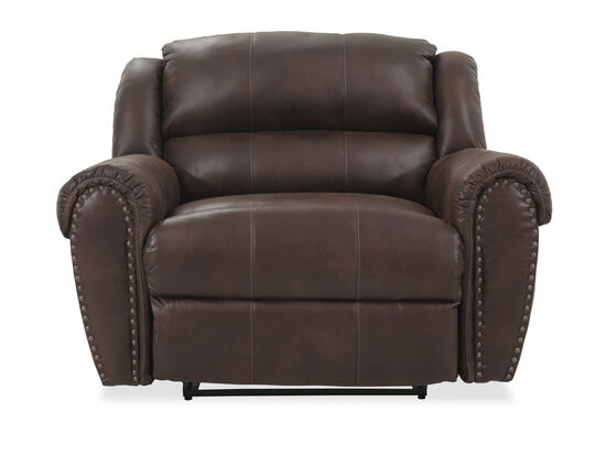 "Nailhead Accented 55"" Snuggler Recliner in Brown"