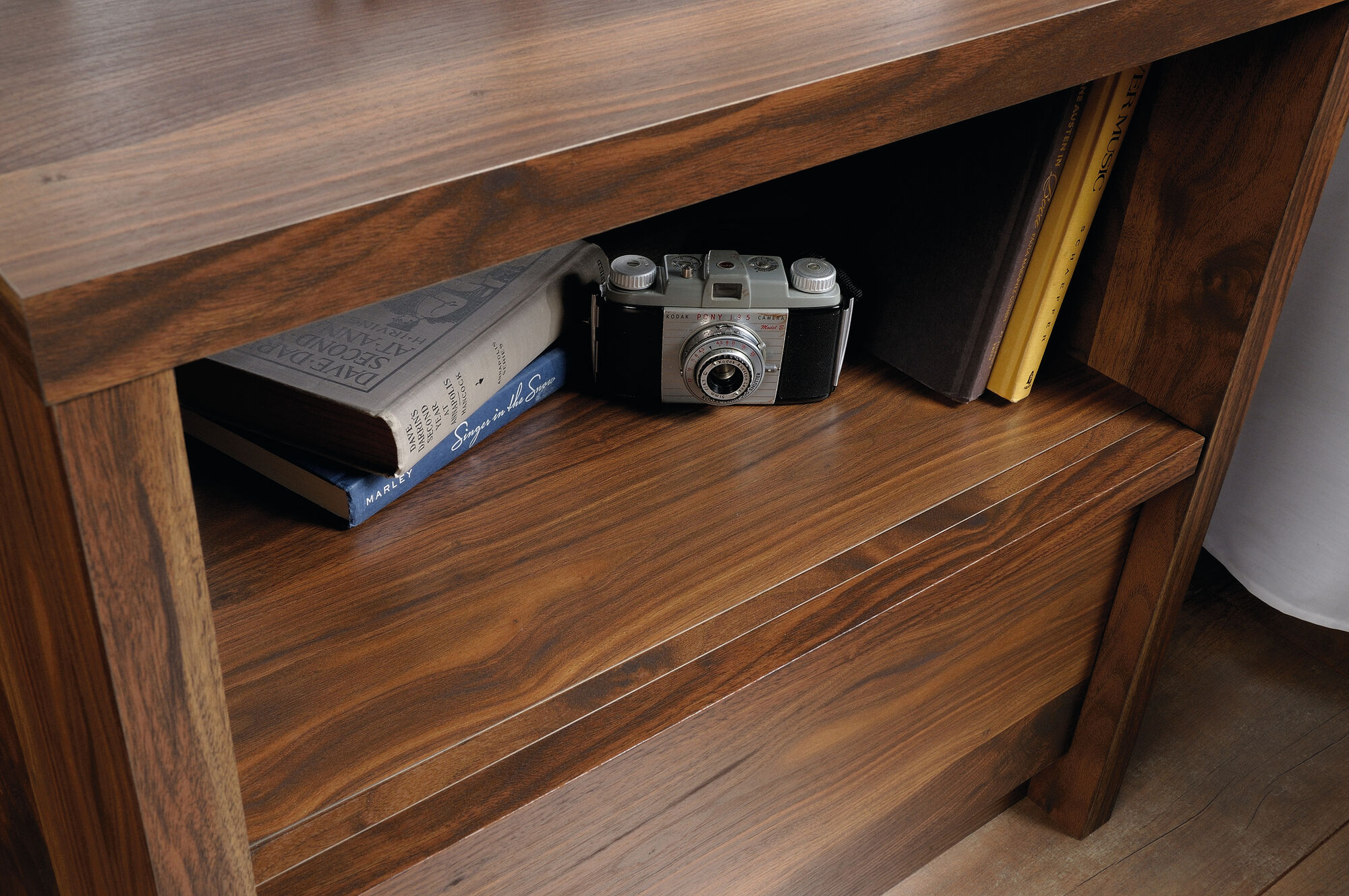 One Drawer Open Shelved Nightstand In Grand Walnut