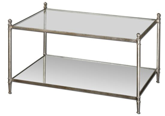 Mirrored Glass Coffee Table in Antiqued Silver Leaf