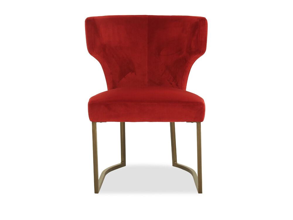 Wingback Velvet Dining Chair in Red