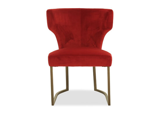 Wingback Velvet Dining Chair in Red