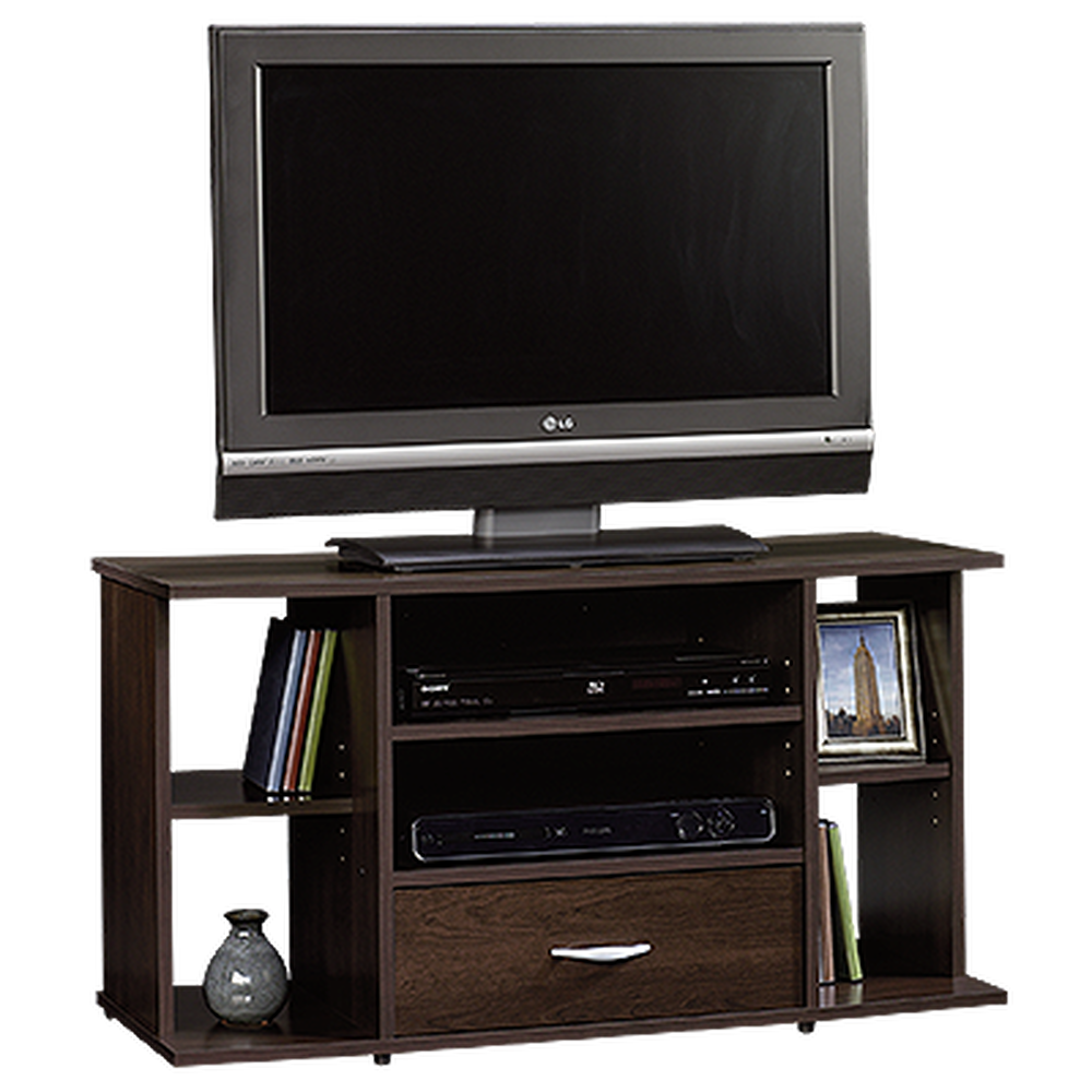 Adjustable Shelf Casual Panel Tv Stand In Cinnamon Cherry