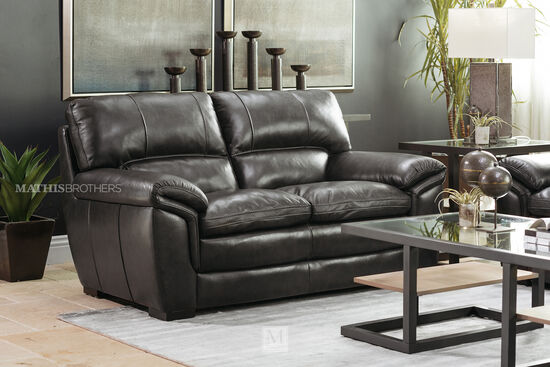 "Casual Leather 69"" Loveseat in Gray"