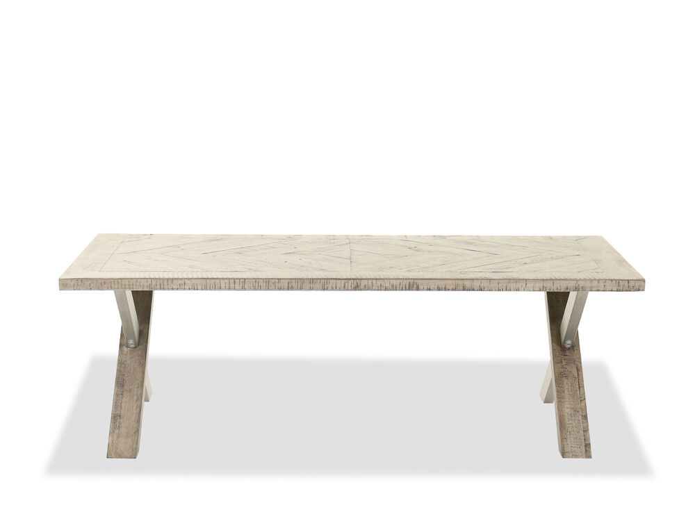 """58"""" Rectangular Wood Cocktail Table in Light Brown"""