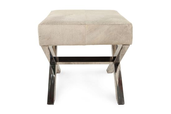 "Modern Hair on Hide Leather 47"" Steel X-Bench in Cream"