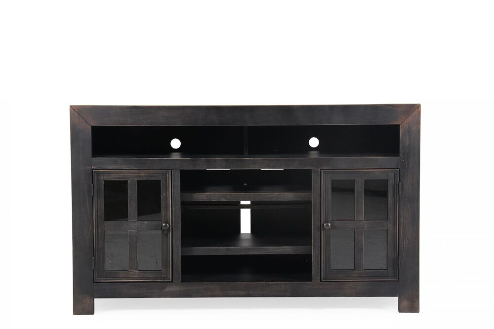 Two-Windowpane Door Casual TV Stand in Vintage Black