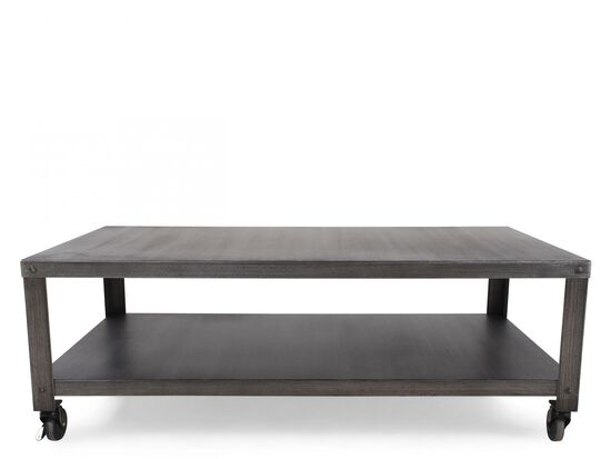 Powder-Coated Rectangular Casual Cocktail Table in Black