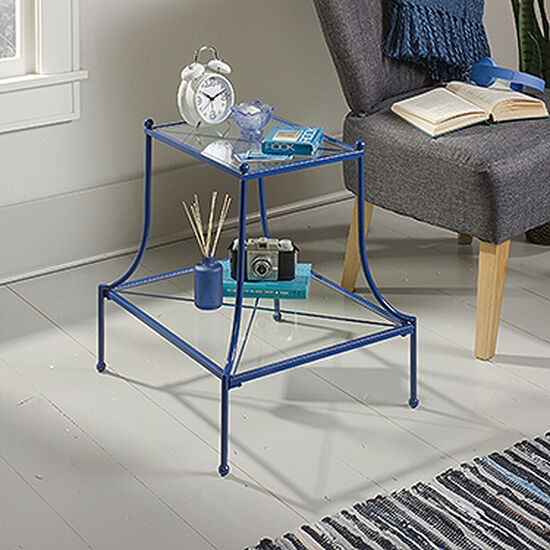 Two-Tier Contemporary Side Tablein Blue