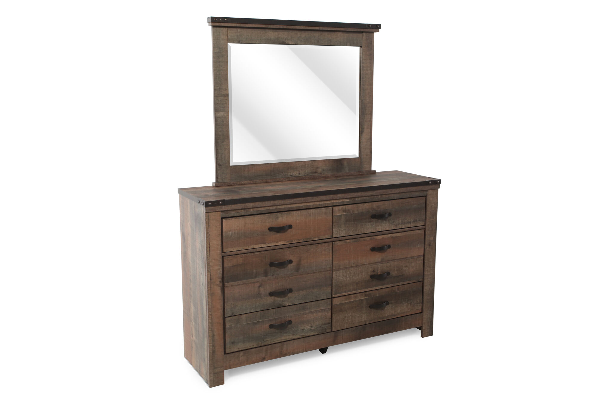 Six drawer rustic farmhouse youth dresser and mirror in distressed brown mathis brothers furniture