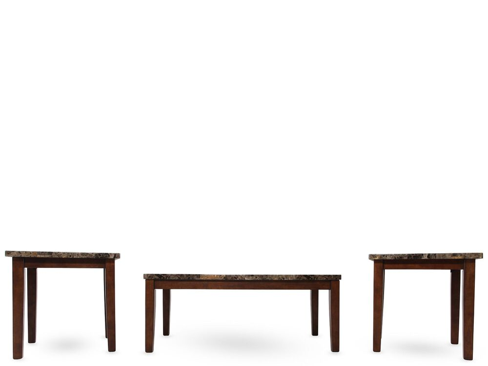 Three Piece Contemporary Coffee Table Set In Light Brown Mathis Brothers Furniture