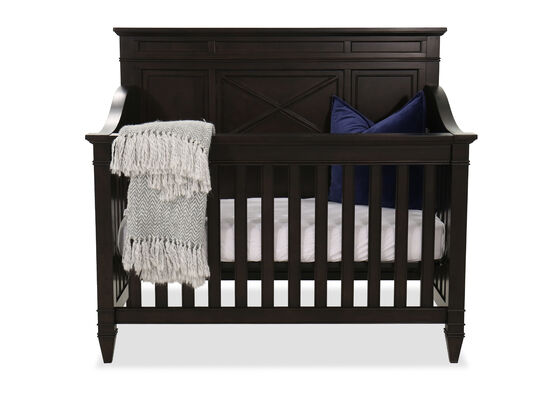 Slatted Transitional Crib in Aged Black