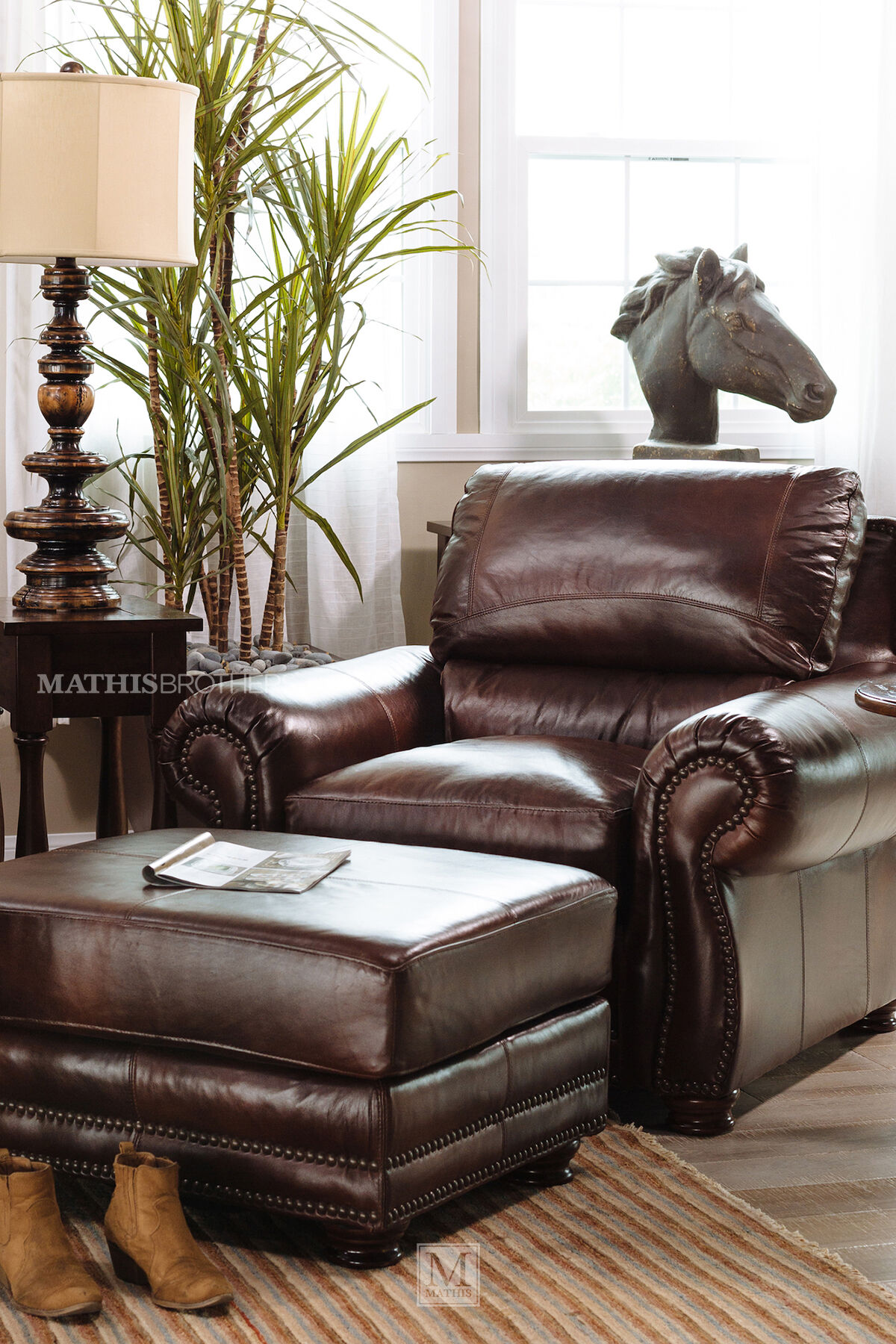 ... Nailhead Trimmed Leather 45u0026quot; Chair In Brown