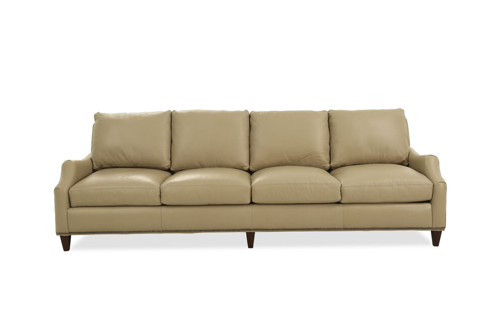 Images Nailhead Accented 103 Leather Sofa