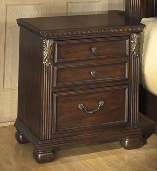 "28"" Traditional Two-Drawer Nightstand in Warm Brown"