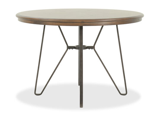 "45"" Round Counter Table with Angled Tubular Base in Warm Brown"