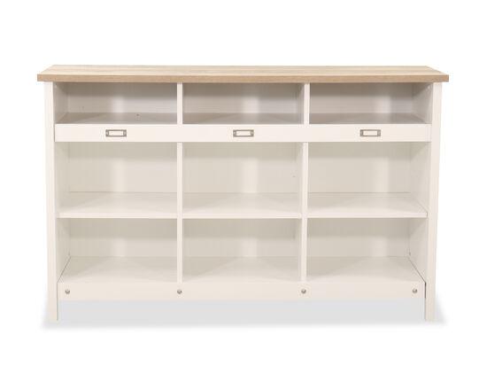 Three-Shelf Traditional Storage Credenza in Soft White
