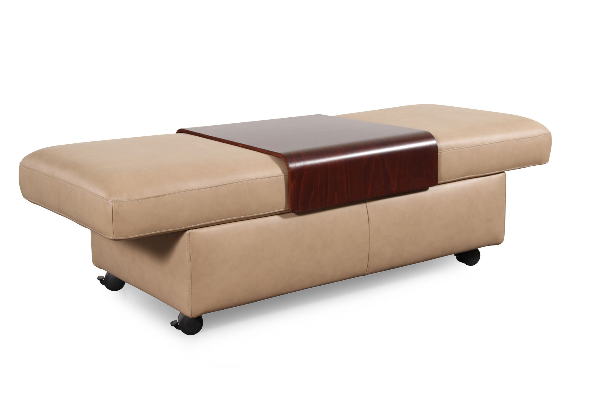 Contemporary 37 Leather Double Ottoman With Table Top