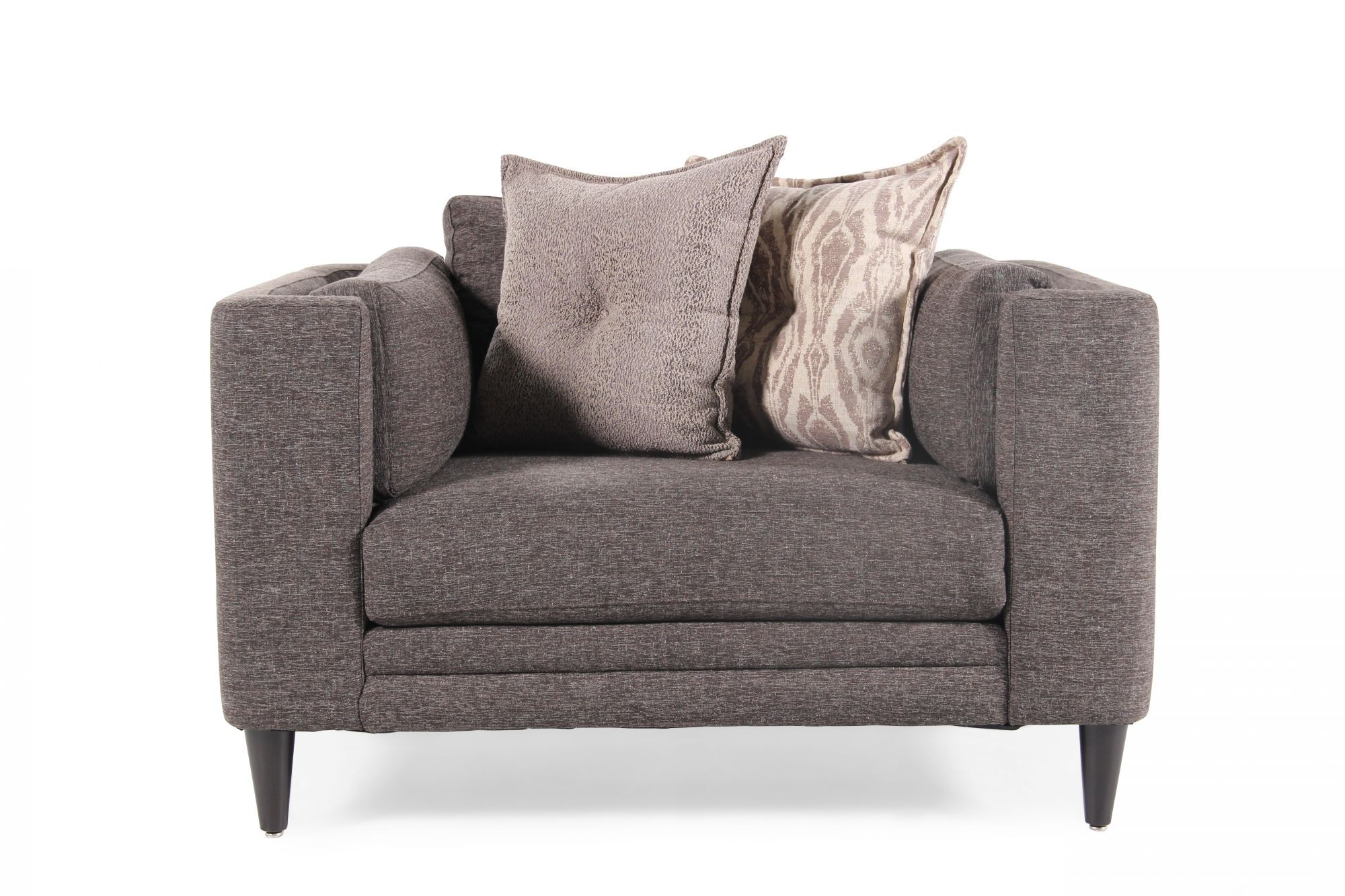 Low Profile Contemporary Arm Chair In Platinum Gray