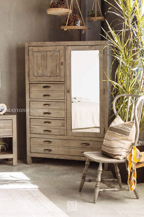 "69"" Mirrored Door Casual Chiffarobe in River Rock"
