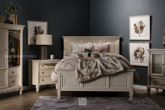 """58"""" Framed Cottage California King Panel Bed in Patina White"""