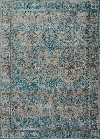 "Contemporary 2'-7""x4' Rug in Fog/Mediterranean"