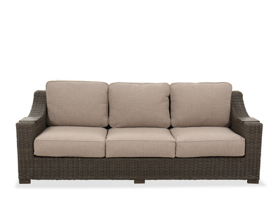 Three-Cushion Contemporary Patio Sofa in Brown