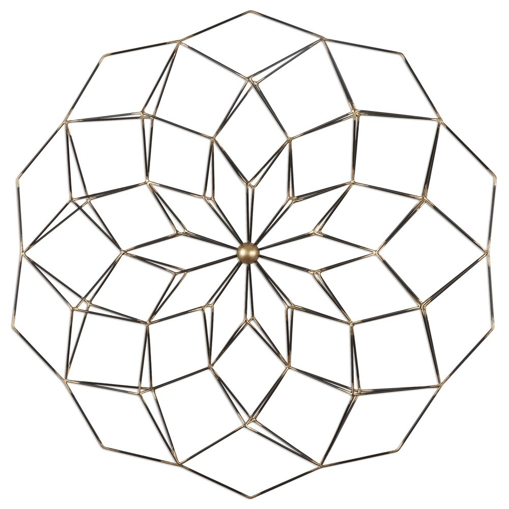 Geometric Floral Wall Art in Aged Black