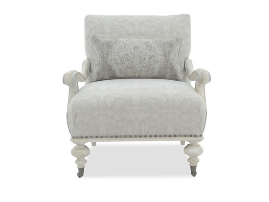 "Embroidered Contemporary 32"" Accent Chair in Gray"