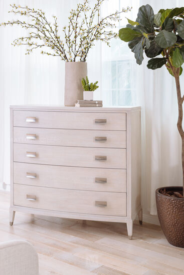 """44.5"""" Modern Bowed Front Chest of Drawers in Cerused Linen"""