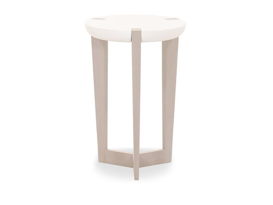 Transitional Round Chairside Table in Linear Gray