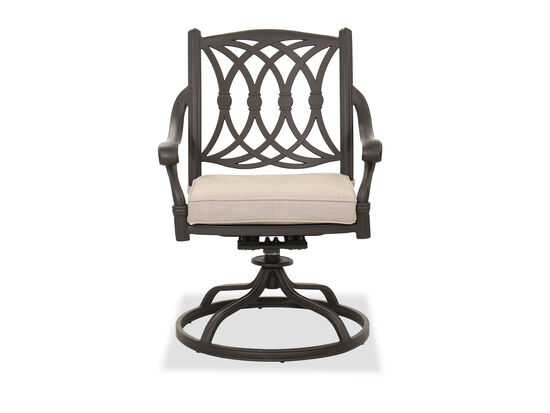 Traditional Patio Swivel Dining Chair in Brown