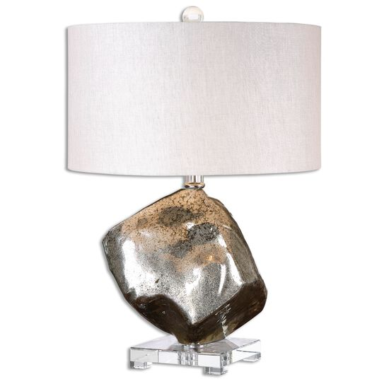 Round Drum Table Lamp in Mottled Mercury