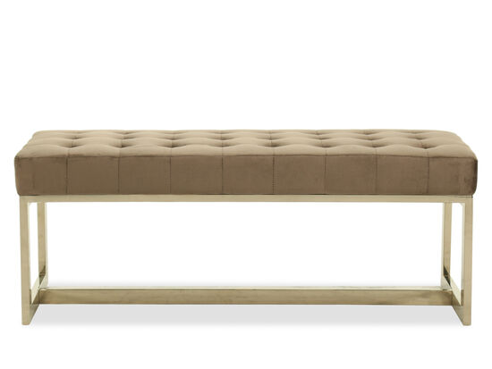 "Tufted Casual 44"" Bench in Brown"