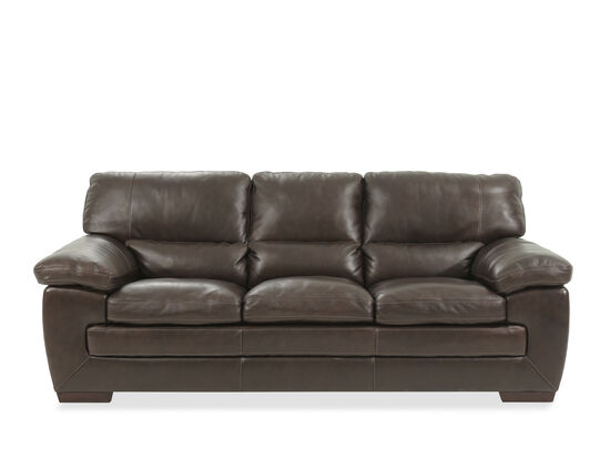 87 Leather Sofa In Dark Brown