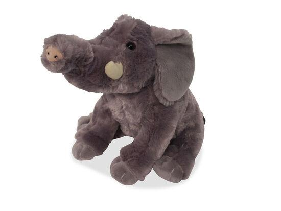 "10"" Plush Sitting Elephant in Gray"
