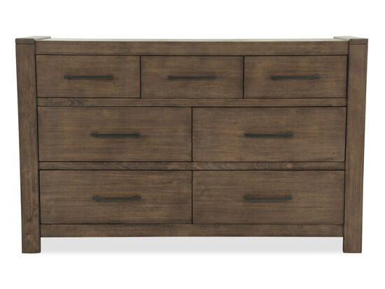 """40"""" Contemporary Seven-Drawer Dresser in Brown"""