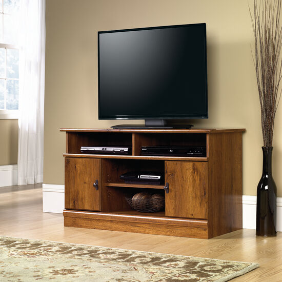 Two Door Transitional Panel TV Stand  in Medium Oak