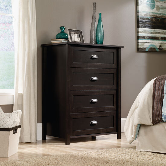 "41.5"" Traditional Paneled Four-Drawer Chest in Estate Black"