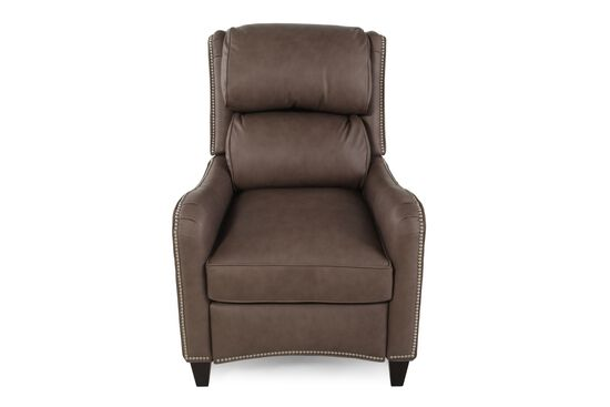 """Leather Nailhead Accented 30"""" Reclining Loungerin Brown"""