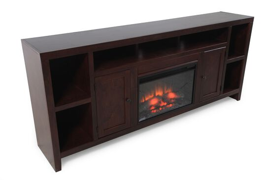 Open Compartments Casual Fireplace Console in Dark Cherry