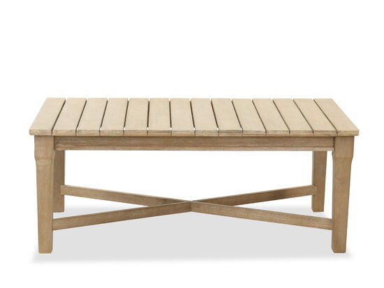 Traditional Rectangular Slat Top Cocktail Table in Fawn