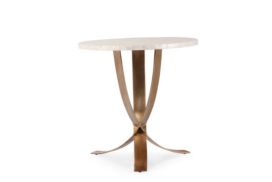 Modern Steel Accent Table in Bronze