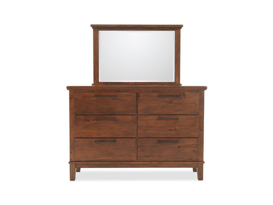 Two-Piece Contemporary Six-Drawer Dresser and Mirror in Brown